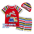 Casual Europe Cartoon  Boy Beach Set Short Sleeve T-shirt+Pants Casual Kid Swim Suit Clothing