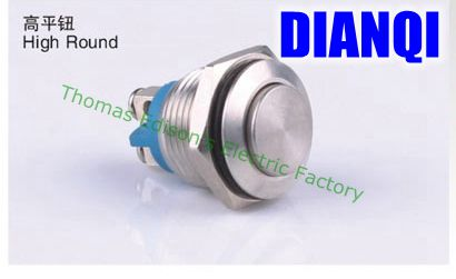 16mm metal push button waterproof nickel plated brass button switch press button reset 1NO  high round momentary 16GTP,F.KBL 6 10 mm brass nickel plated m20 1 5 mm electric cable gland waterproof x 10