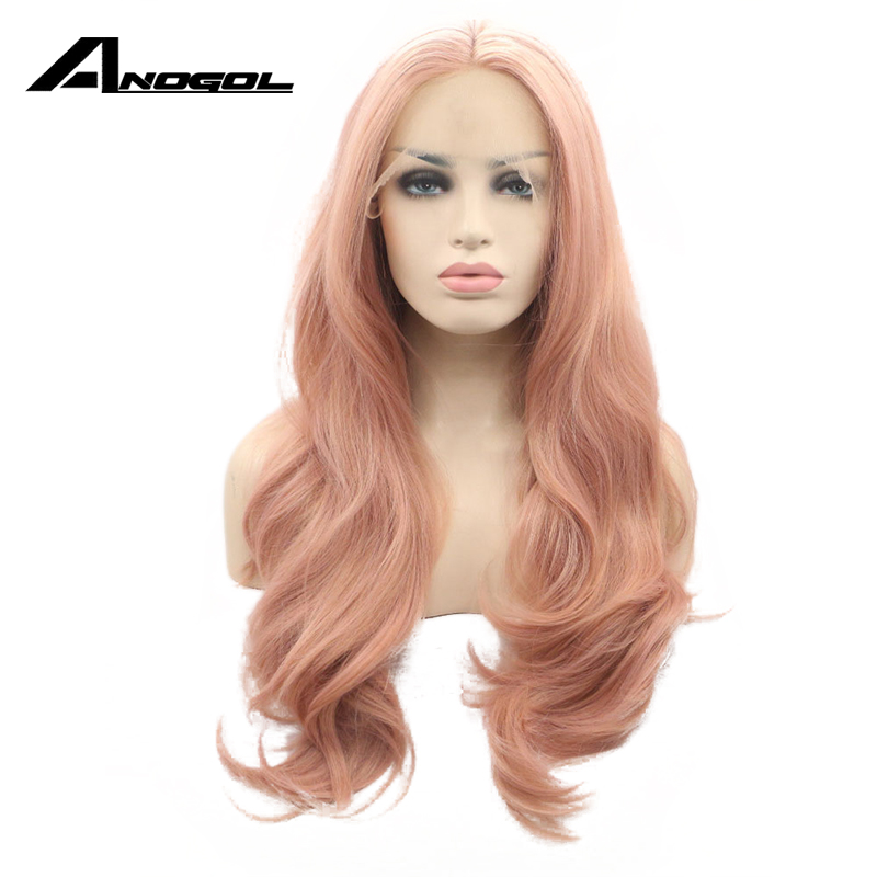 Anogol Pink Hair Wigs Long Body Wave Synthetic Lace Front Wig For Women Napnk Peruca Cabelo