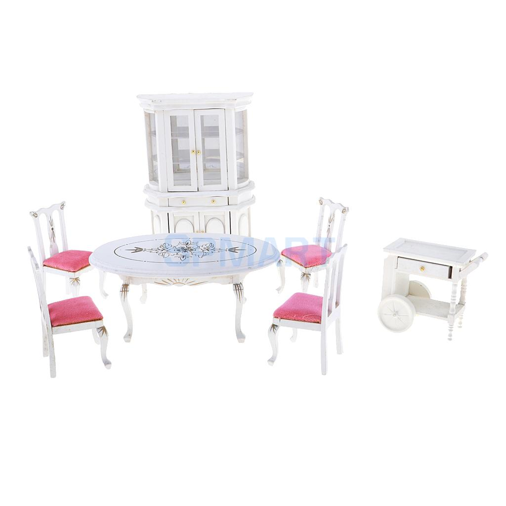 European Style 1/12 Dollhouse Miniature Wooden Dining Table Chair Display Cabinet Set Dining Room Furniture Kit 7pcs