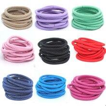 50 unids Dulces colores Inconsútiles cintas para el Pelo de Nylon de las vendas mujeres cuerdas Lazos elásticos Del Pelo bandas de goma accesorios para el cabello para niñas