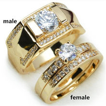 FUNIQUE Romantic Wedding Cubic Zirconia Rings For Women Men Lover Gold Copper Couple Rings Engagement Jewelry 2019 Bijoux Ring(China)