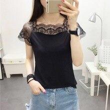 цена на Sweet T Shirt Women Fashion Lace Stitching Short Sleeve T-Shirt Femme Summer Slash Neck Casual Tops 2019 Korean Female Tee Shirt