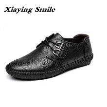 Erkek moda inek deri ayakkabı iş ayakkabısı dantel iş rahat hakiki deri ayakkabı daireler erkek spor ayakkabı Zapatos De Hombre