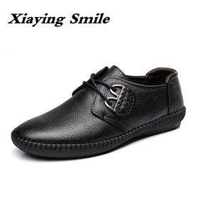Image 1 - Mens Fashion cow Leather Shoes Working Shoes Lace Up Business Casual Genuine Leather Shoes Flats Male sneaker Zapatos De Hombre