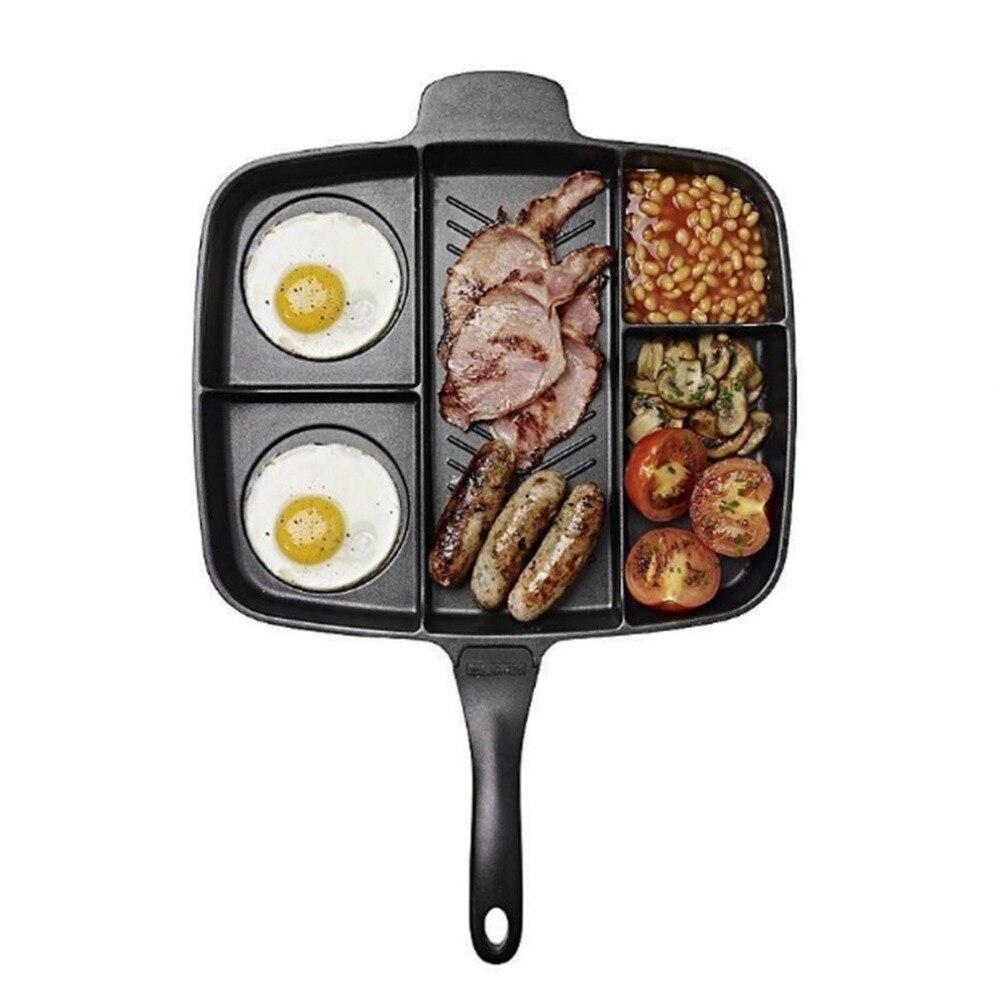 5 Em 1 Multi-purpose Separação Panela Fritadeira Pan Não-Pau Frigideira Churrasco Placa Grill Fry Forno Refeição assar Pan