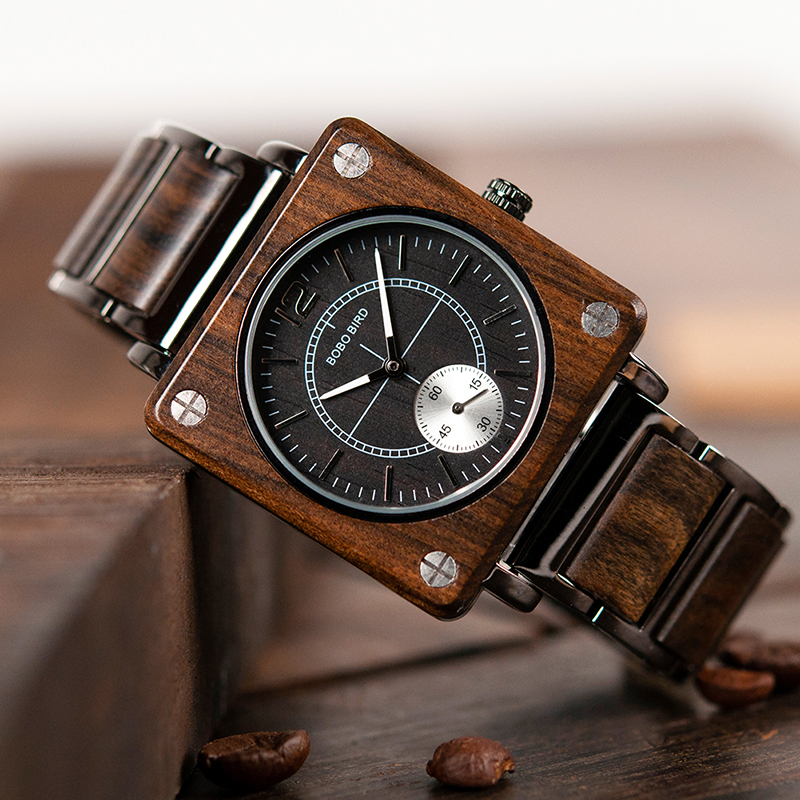 Image 3 - marque de luxe BOBO BIRD Wooden Men Square Watches Luxury Quartz Personalized Wood Watch Gifts for Men relojes de marca famosa-in Quartz Watches from Watches