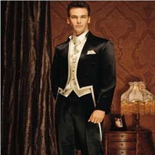 Classic Style Black Tailcoat Groom Tuxedos Groomsmen Men's Wedding Prom Suits Bridegroom (Jacket+Pants+Vest+Tie) K:909