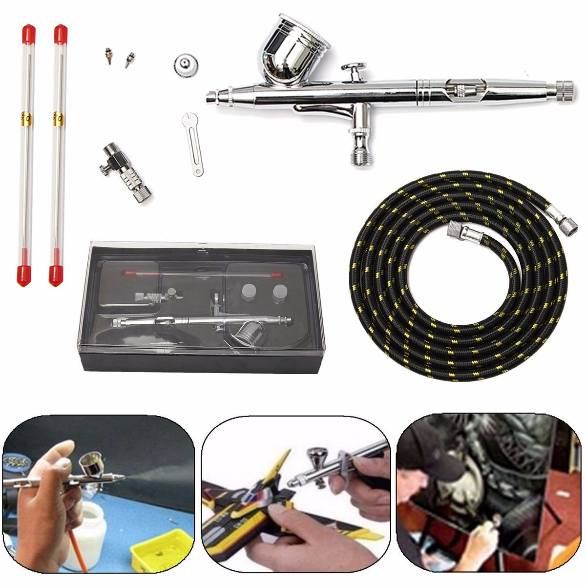 MASTER PRO Spray gun Dual-Action Gravity Feed Airbrush Kit Tips Hobby Paint Craft