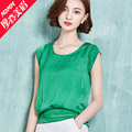 Chiffon shirt short-sleeve summer female 2016 plus size loose women's t-shirt short design all-match cutout top