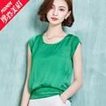Chiffon shirt short-sleeve summer female 2016 plus size loose women's t-shirt short design all-match cutout top