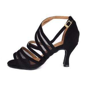 Image 4 - Women Ballroom Latin Dance Shoes Black Salsa Shoes High heels 6/7.5/8.5cm Red Samba Tango Kizomba Dance shoes Soft Sole 1126