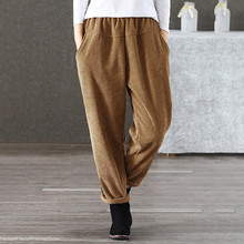072e9c860c7 S-3XL 2019 Corduroy Pants Women Autumn Winter Vintage Fashion Straight  Trousers Casual Elastic Waist