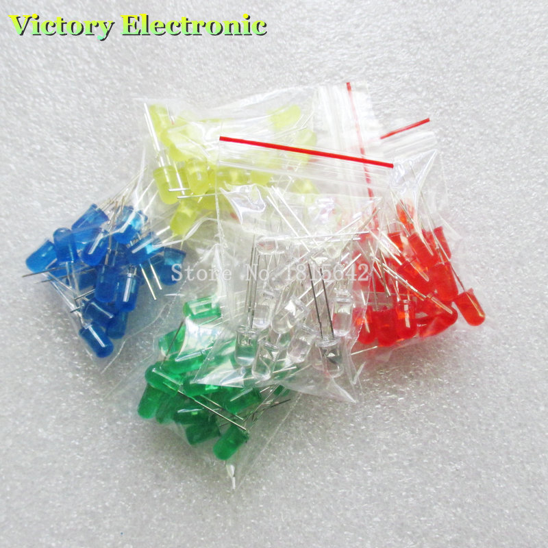 100pcs 5mm LED Diode Light Assorted Kit DIY LEDs Set White Yellow Red Green Blue Electronic Diy Kit