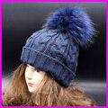 2016 Mulheres Da Moda Inverno Chapéus de Pele De Guaxinim 16 cm Tingido Pele Pompom Gorros Cap Feminino Chapéu De Pele Naturais
