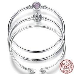 925 пробы серебро Pulseira браслет Femme для Для женщин Снежинка Сердце синий глаз Femme змея цепи Браслеты и браслеты ювелирные изделия