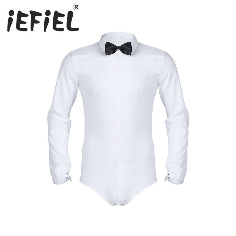 iEFiEL Mens Long Sleeve Zipper Solid Color Latin Modern Dance Shirt with Bowtie One-piece Romper Shirt Male White Tuxedo Shirt