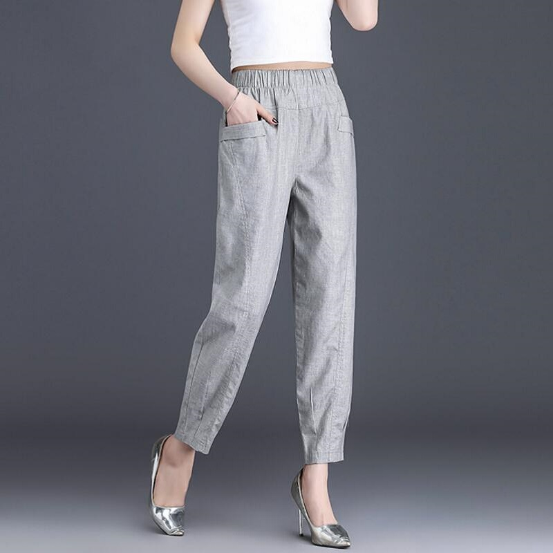2019 Autumn Summer Women Casaul   Pants     Capris   High Waist Plus Size   Pants   Cotton Linen   Pants   Women S376