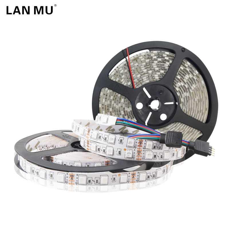LAN MU 5M 300Leds waterproof RGB Led Strip Light SMD2835 5050 DC12V 60Leds/M Fiexble Light Led Ribbon Tape Home Decoration Lamp ...