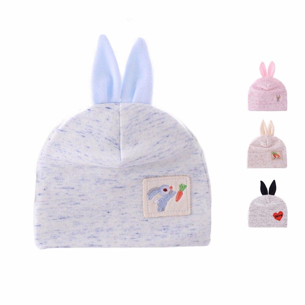 Cute Newborn Baby Beanie Hats For Boys Spring Cotton Girls Hat With Rabbit Ears Cartoon Newborn Boy Tire Cap Baby Girls Clothing
