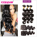 Grade 7a Brazilian Virgin Hair Body Wave With Closure Unprocessed Human Hair Bundles With Lace Closure Cheap Brazilian Body Wave
