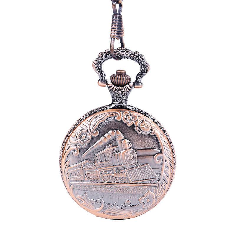 1054 Cổ Redrunning Xe Lửa Hơi Nước Đồng Hồ Bỏ Túi Dây Kim Loại VÁY ĐẦM Nam Nữ Fob Đồng Hồ Giả Cổ Thời Trang