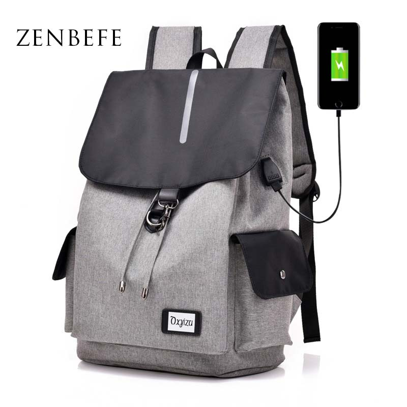ZENBEFE With Reflective Strip Backpacks USB Charging Backpacks String Close School Bag For Bookbags Laptop Bag Travel Backpacks ...