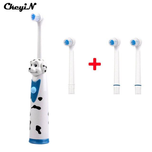 Новый Мультфильм Собака Поворотный Аккумулятор Электрическая Зубная Щетка Батареи с 4 Pcs Зубная щетка Главы Оральный Dental Care Гигиены для детей