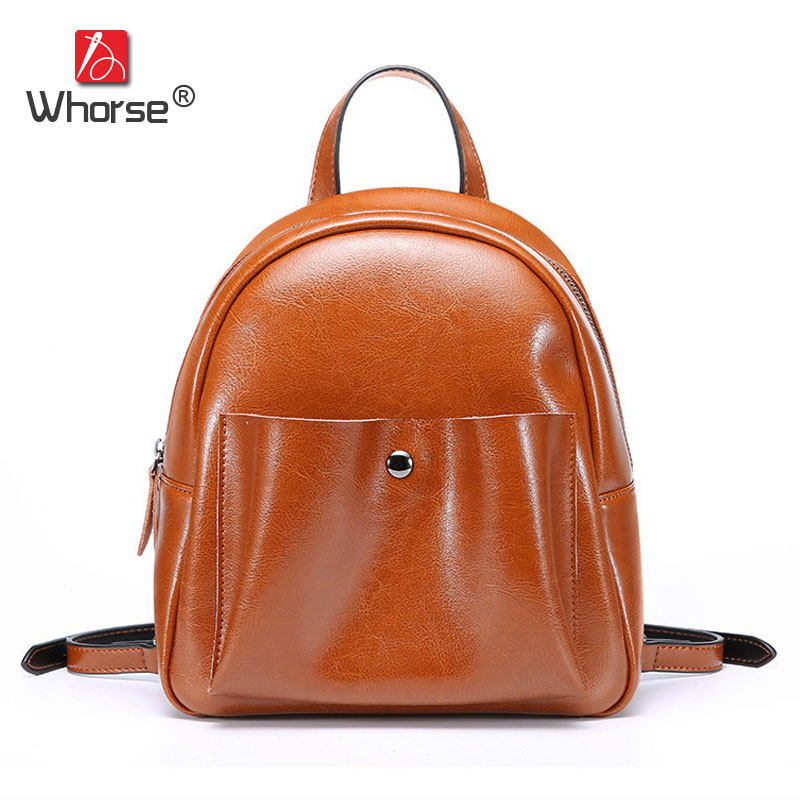 Shell Style Ladies Daypack Genuine Leather Women Casual Backpack Small Travel School Bag Backpacks Back Pack For Lady W08860