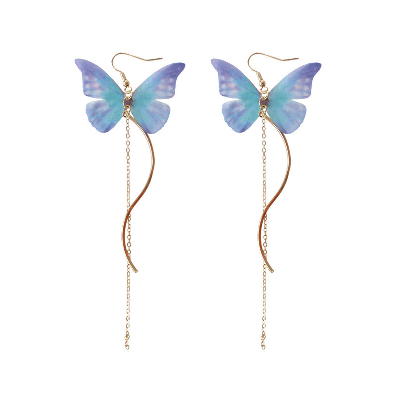 QCOOLJLY Handmade Ethereal Butterfly Drop Earrings Royal Blue Purple Color Fashion Long Earrings Metal Chain Curve Line Jewelry ...