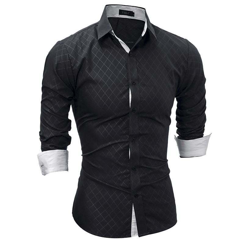 Brand 2018 Fashion Male Shirt Long-Sleeves Tops Classic Lined With Dark Lines Mens Dress Shirts Slim Men Shirt XXL