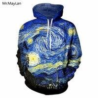 Harajuku Van Gogh pintura al óleo noche estrellada Chaqueta con estampado en 3D Hoodie mujeres/hombres Hipster gótico sombrero sudadera 2018 niño ropa azul|Sudaderas con capucha y sudaderas| |  -