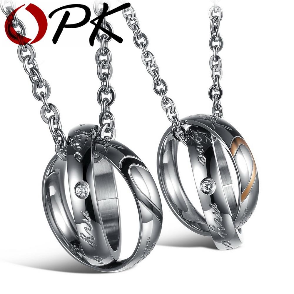 Opk Half Heart Puzzle Couple Necklaces Romantic Black Gold