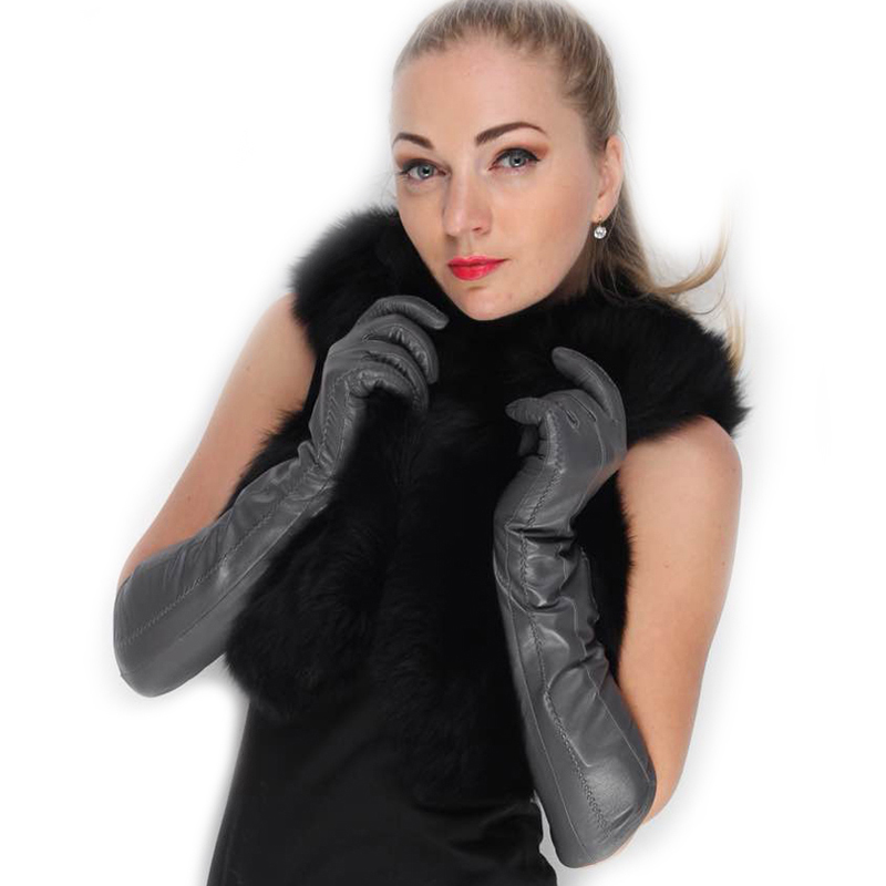 women 47cm 18 5 long lines real lamb skin genuine leather gloves dark grey in gloves. Black Bedroom Furniture Sets. Home Design Ideas