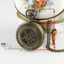 Brass bronze copper antique style openwork star pocket watch pendant long chain necklaces for men and women 2013 cheap fahsion