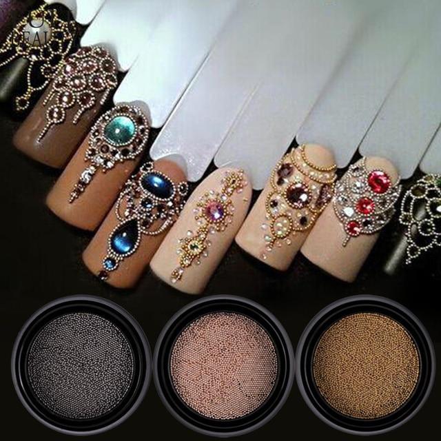 0,4/0,6mm Mini pequeñas cuentas de acero inoxidable decoración de uñas pistola gris oro rosa Caviar DIY herramienta de uñas pendientes accesorios CH026