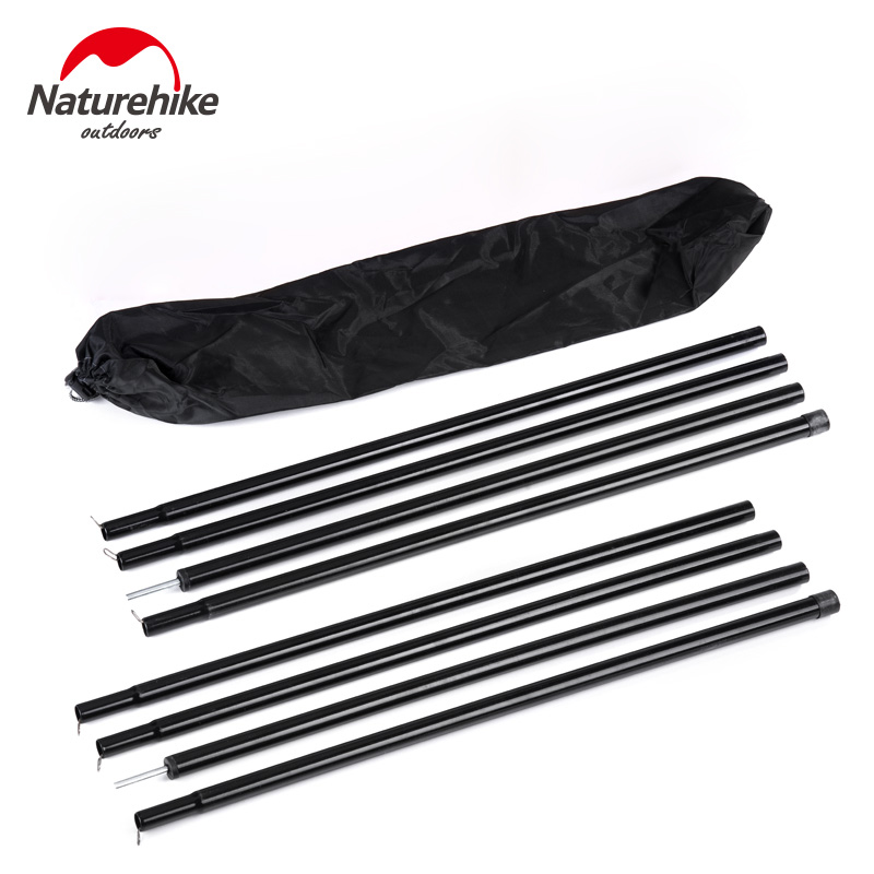 Naturehike 2pcs*2m outdoor camping tent poles sun shelter tarp rod awning canopy support poles tent accessories 2 pcs naturehike ultralight aluminum poles tarp sun shelter awning canopy support length 2m