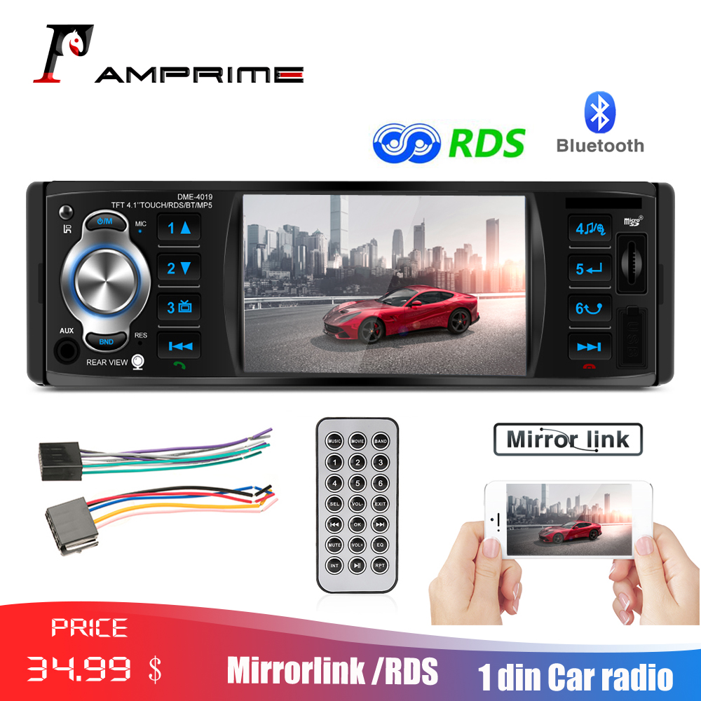 AMPrime 1 Din Car Radio 4.1 Autoradio 12v Stereo RDS Bluetooth Auto Audio With Rearview Camera MirroLink USB/TFT/FM MP5 Player image