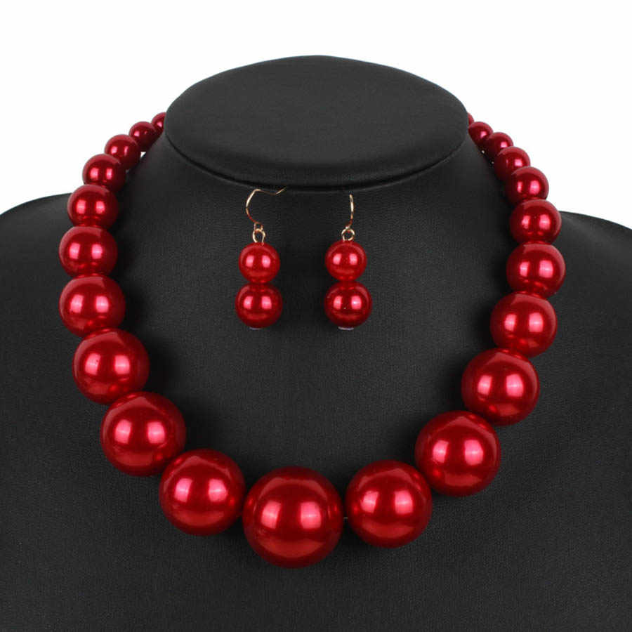 Big Size Nigerian Beads Necklace Wedding Jewelry Set Red/White/Brown/Black Simulated-pearl Necklace Earrings Set turkish jewelry