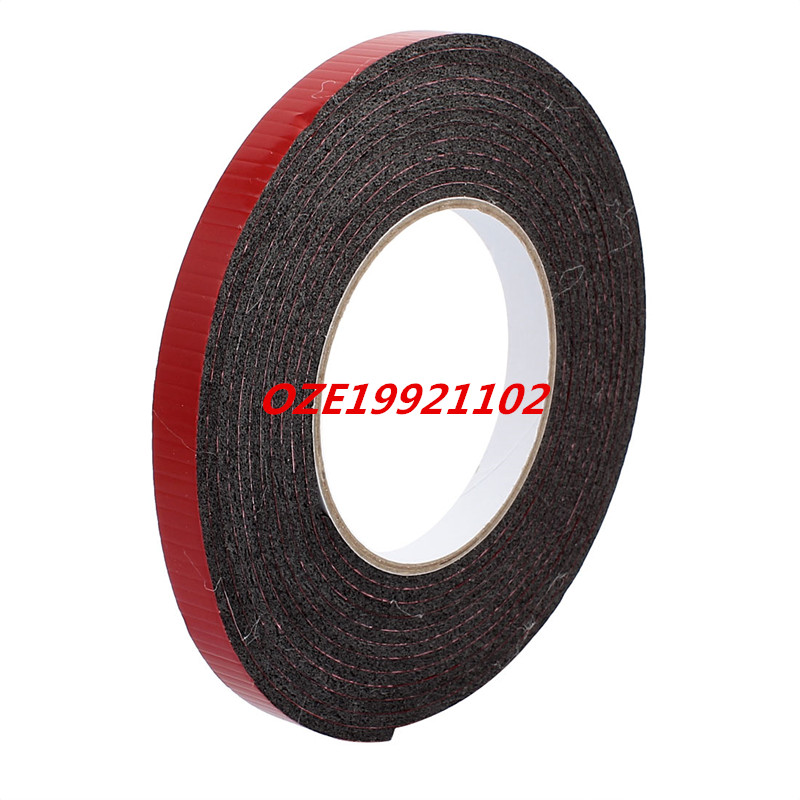 5M 12mm x 3mm Dual-side Adhesive Shockproof Sponge Foam Tape Red Black 1pcs single sided self adhesive shockproof sponge foam tape 2m length 6mm x 80mm