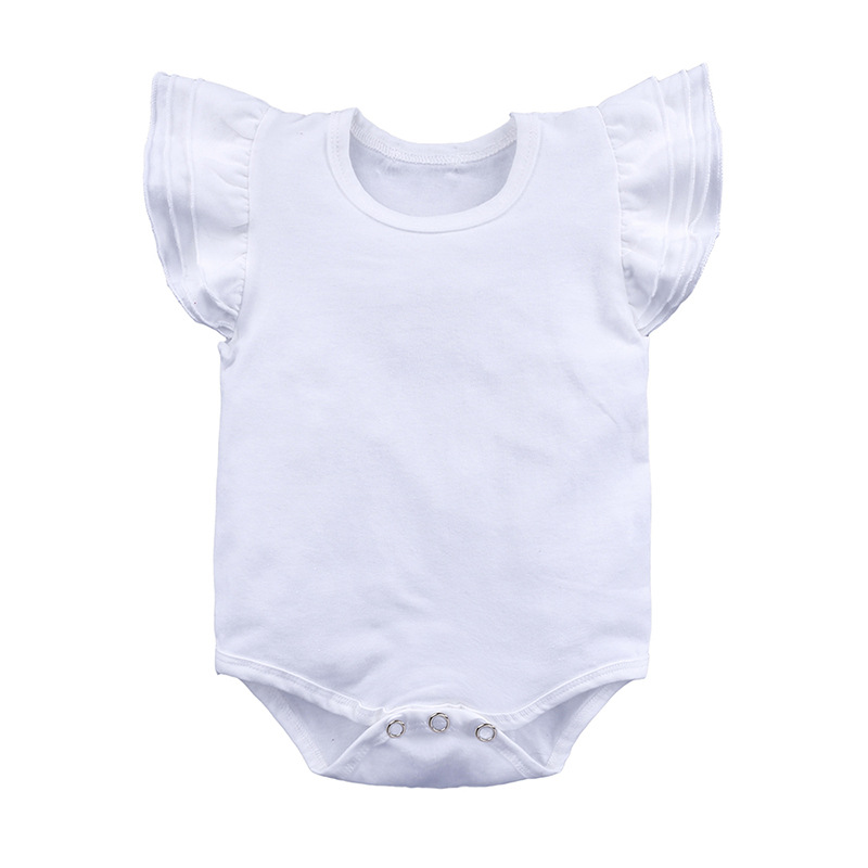 Baby romper Fashion casual solid O-neck Cotton knitted pull fly sleeves BABY triangle climbing piece jumper size 59-90 jumpsuit