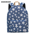 Denim Canvas Fashion Backpack With Star & Worm Printings Women Fashion Casual Backpack Ladies Simple Backpack Cheap Bag