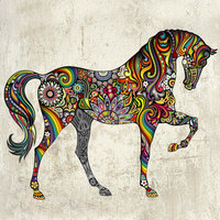 Fashion Art Horse Pattern Removable PVC Wall Stickers Living Room Bedroom Background Mural Home Decor Sticker