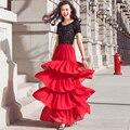 Verano para mujer de la gasa elegante falda de la torta largo maxi capa sobre capa ruffles faldas personalizar más el tamaño 5XL 7XL 120 colores
