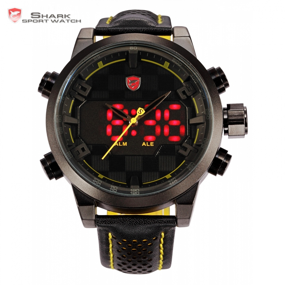 Sawback Angel Shark Sport Watch Mens Black Yellow Digital Dual Movement 3D Logo Steel Case LED Watches Leather Wristwatch /SH204 sawback angel shark sport watch mens black yellow digital dual movement 3d logo steel case led watches leather wristwatch sh204