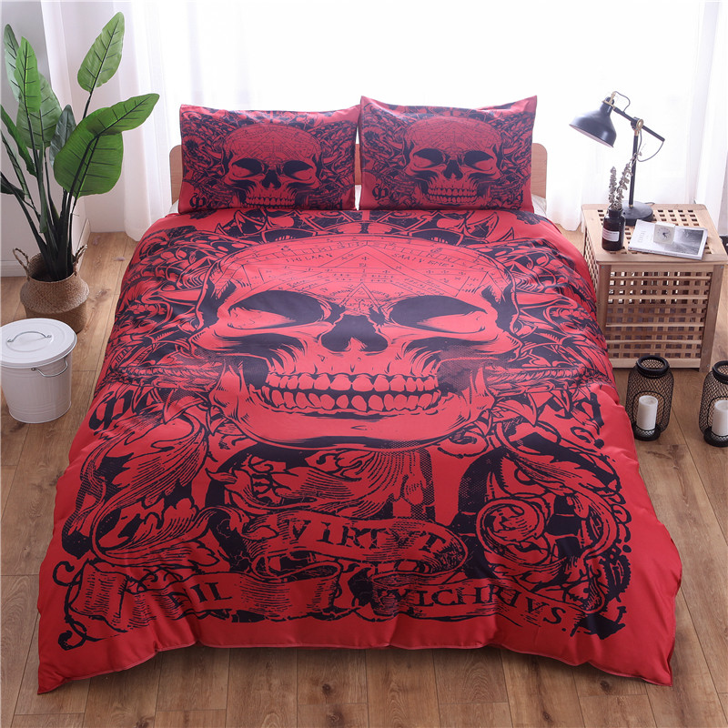 Wongsbedding Red Skull Printed Duvet Cover Set 3pcs Single Double Queen King Bedclothes Bed Linen Bedding Sets