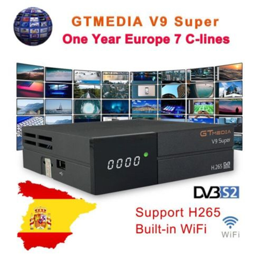 GT media Satellite Receiver V9 Super DVB-S2 H2.65 FREESAT V9 SUPER Satellite TV Receiver HD 1080P with 1 Year 7 Clines LinesGT media Satellite Receiver V9 Super DVB-S2 H2.65 FREESAT V9 SUPER Satellite TV Receiver HD 1080P with 1 Year 7 Clines Lines