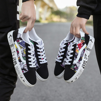 2018 New Fashion canvas shoes men skate sneakers Fashion spring/autumn lace up men's casual shoes Print Design for Student