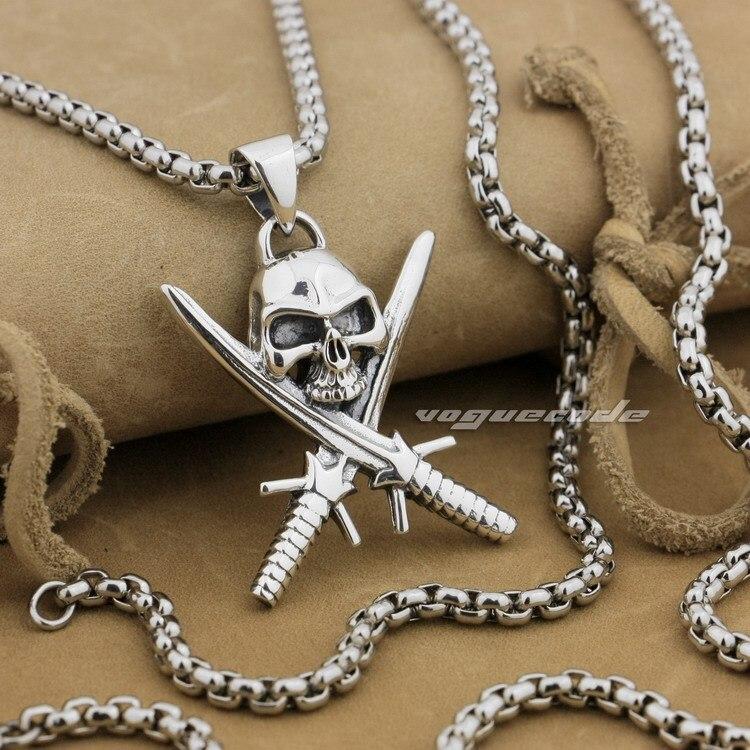 925 argent Sterling épée croix crâne Pirate hommes Biker pendentif 9L017A (collier 24 pouces)