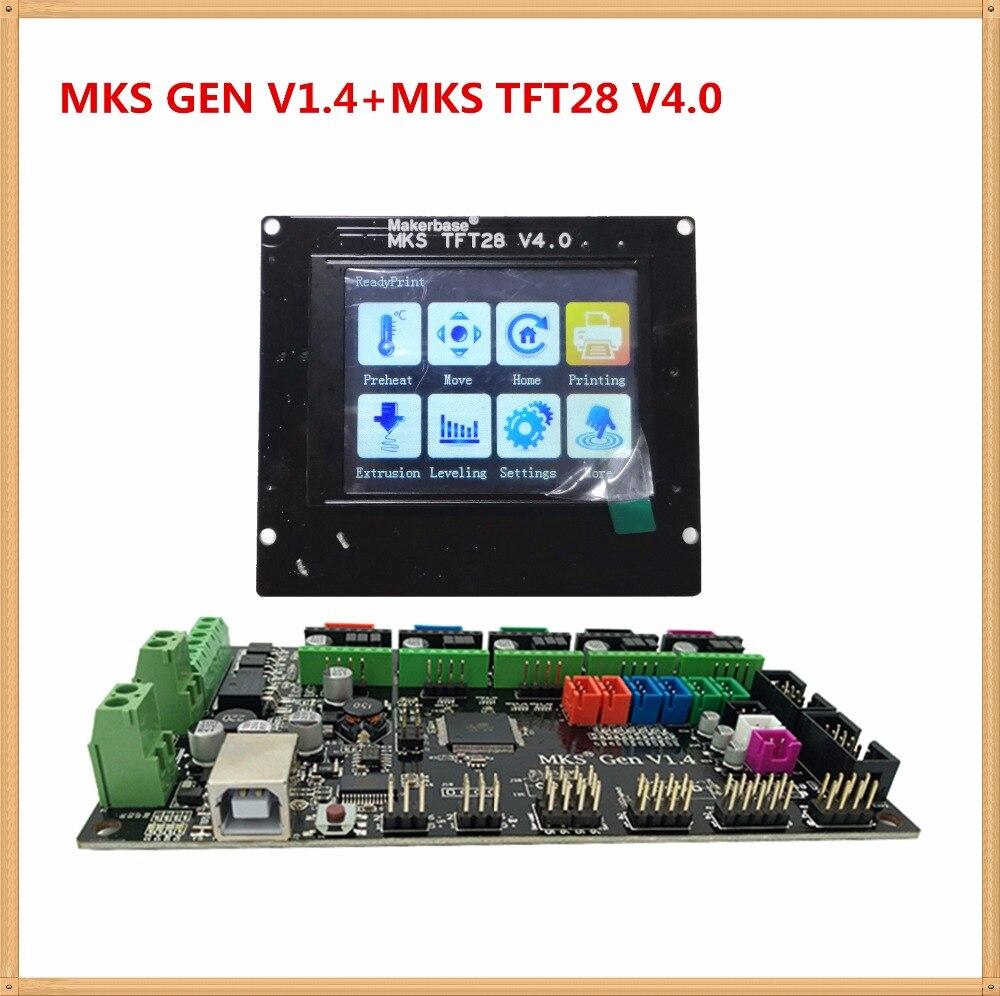 купить MKS GEN + MKS TFT28 colorful touch screen 3d printer DIY starter kit AT mega2560 mainboard stm32 lcd display compatible ramps1.4 по цене 4011.85 рублей